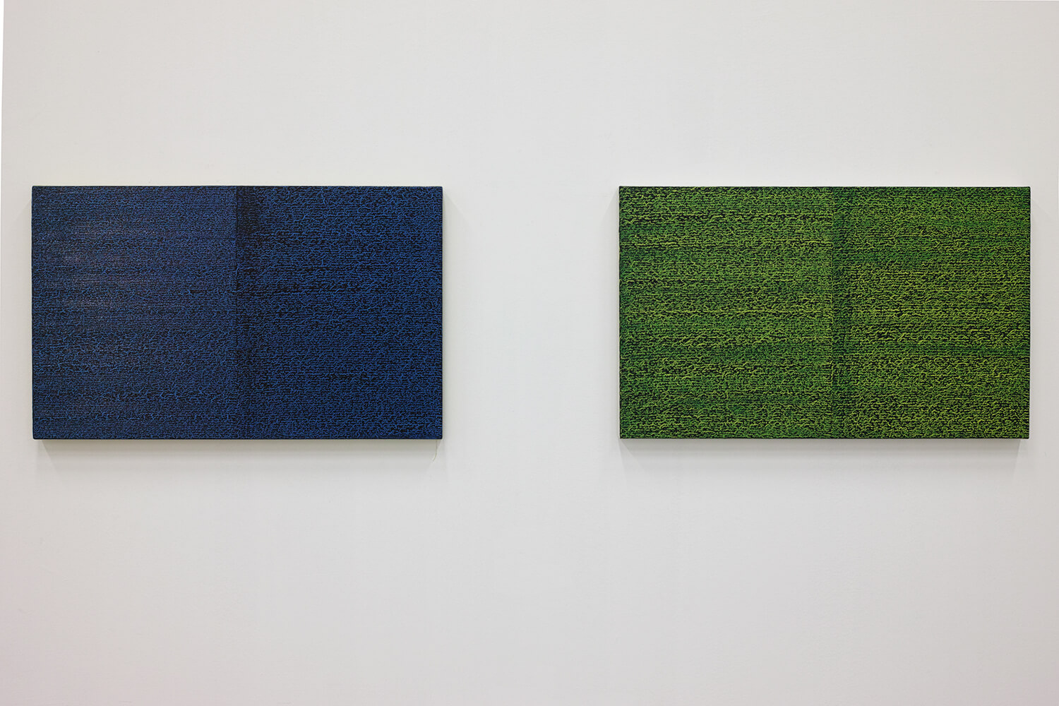 'Open Book blue-blue dark'  (left) & 'Open Book  yellow-green' (right)<br>Oil and Amber on canvas over panel, 37 x 60 cm, 2008 each