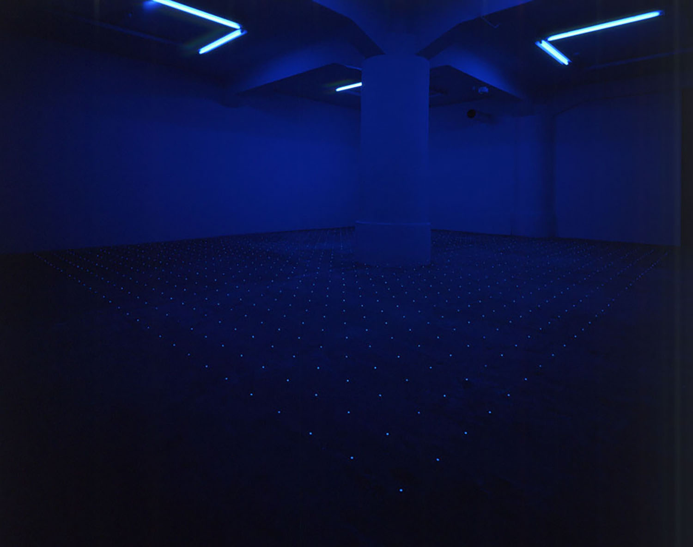 2005#01<br>black light, steel, paper, 666 × 576 cm, 2005