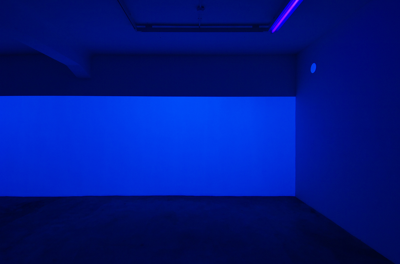 light work 2007#01<br>acrylic gauche, black light, 227 × 1447 cm, 2007