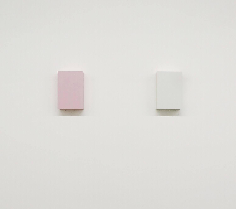 WORK16-10(pink) / WORK16-5(light gray)アクリルにシルクスクリーン , 10 x 15 x 4 cm , 2016