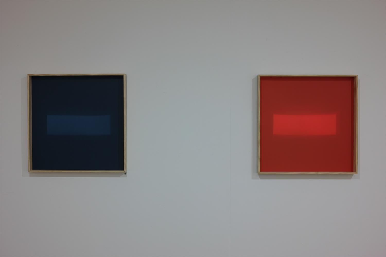 丁 建中 Chien-Chung DING<br>日光之下Ⅱ ed.4/6+AP Beneath Daylight Ⅱ (left) / 日光之下Ⅲ ed.4/6+AP Beneath Daylight Ⅲ (right)<br>wood frame, acrylic, light / 62×62×6cm / 2016