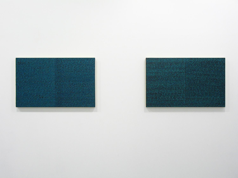 サイモン・フィッツジェラルド Simon Fitzgerald<br>Open Book green-green (left) Open Book green dark (right)<br>Oil, Amber on canvas over panel 37 x 60 cm<br>2008 each
