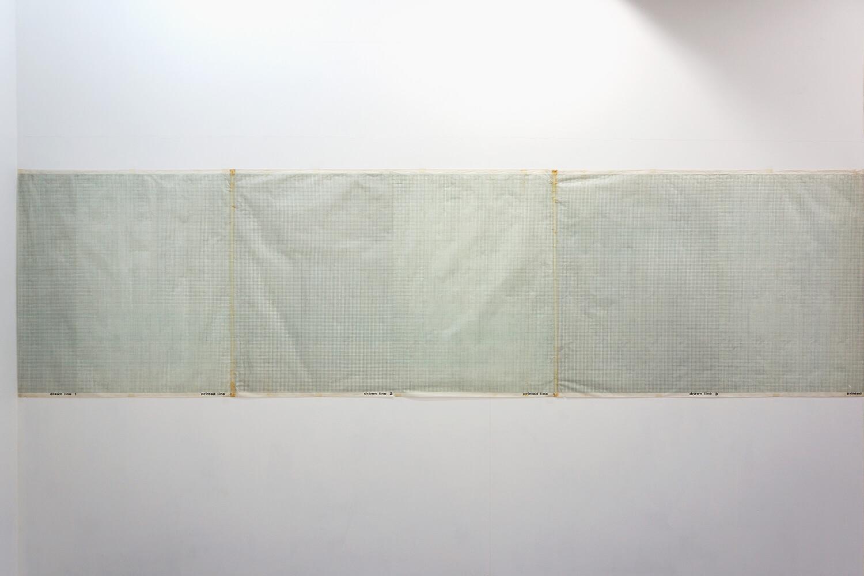 五十嵐彰雄 Akio Igarashi<br><strong>'72-1,2,3</strong><br>Pencil, Lithograph, Section paper, 84 x 322 cm, 1972