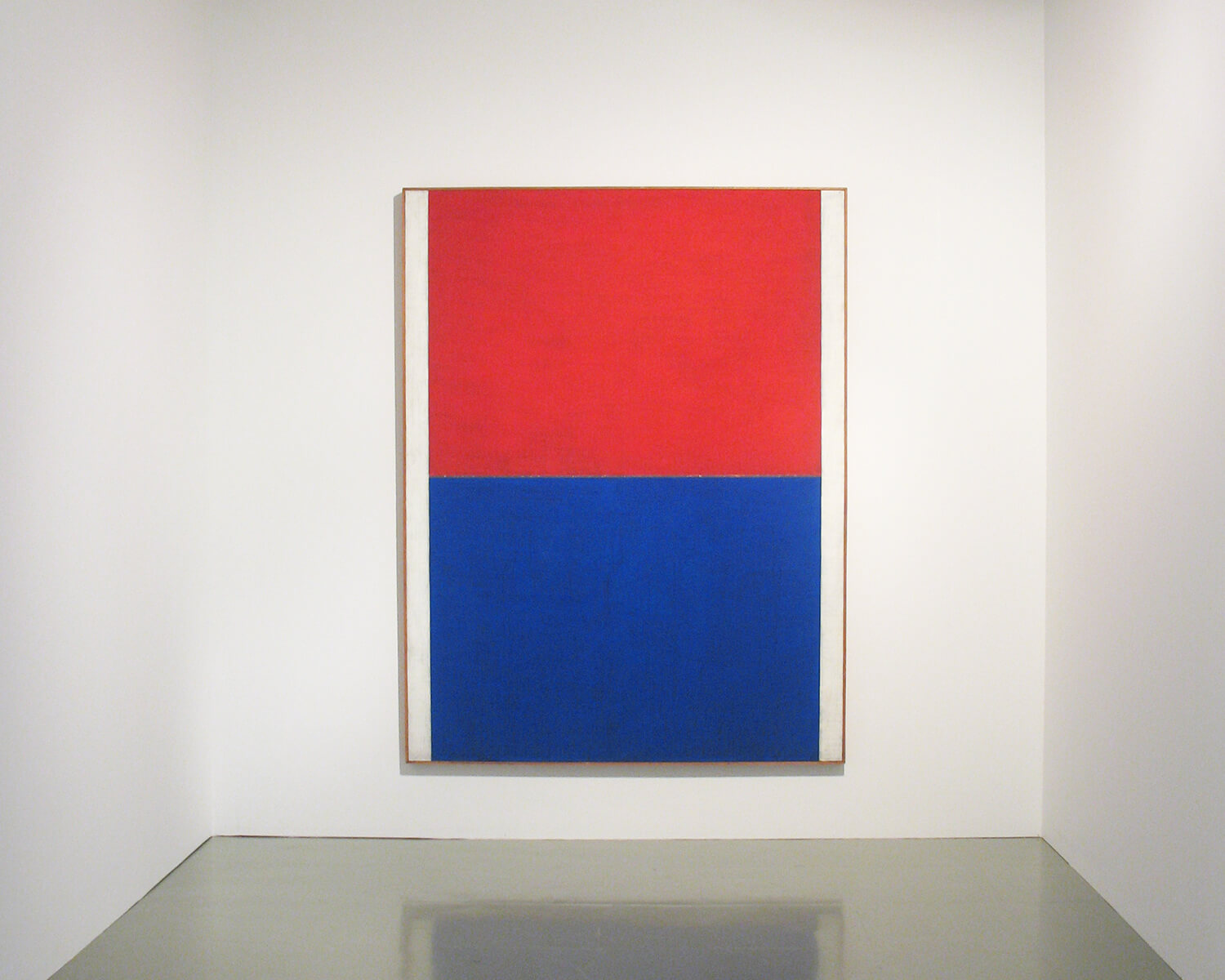 red and blue 1961<br>acrylic, pigment with silver leaf on japanese paper mounted on canvas (1 panel) / 216.2 x 166.2 cm / col. Nagoya City Art Museum