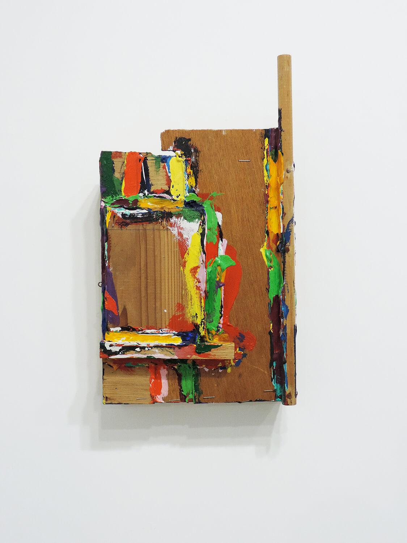 <b>Keeping on truism becomes no truism / あたりまえのことを続けていけばあたりまえでなくなる</b><br>Acrylic, staple, wood 36.2 x 20.5 x 6 cm 1985
