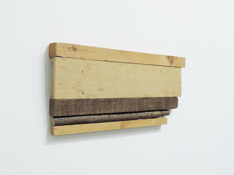 <b>Trusim (Music painting) / あたりまえのこと(音絵)</b><br>Wood and staples 43 x 19 x 3  cm 2004