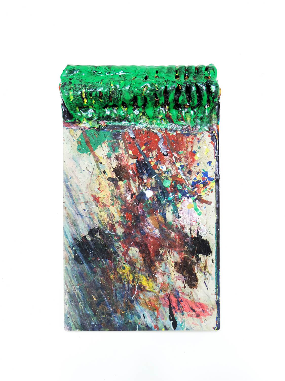<b>Trusim / あたりまえのこと</b><br>Acrylic on hard paper, metall ring 23.6 x 14.1 x 3.5 cm 2005
