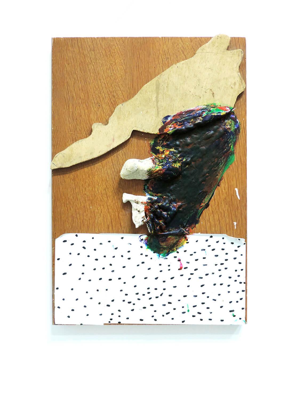 <b>Untitled</b><br>Acrylic, seal, stone, wood 42 x 28 x 5 cm 2012