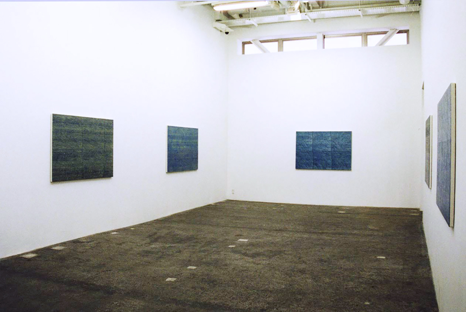 Installation View<br>CASO Space D<br>Trace-Blue 6 paintings 103 x 150 cm 2000 each