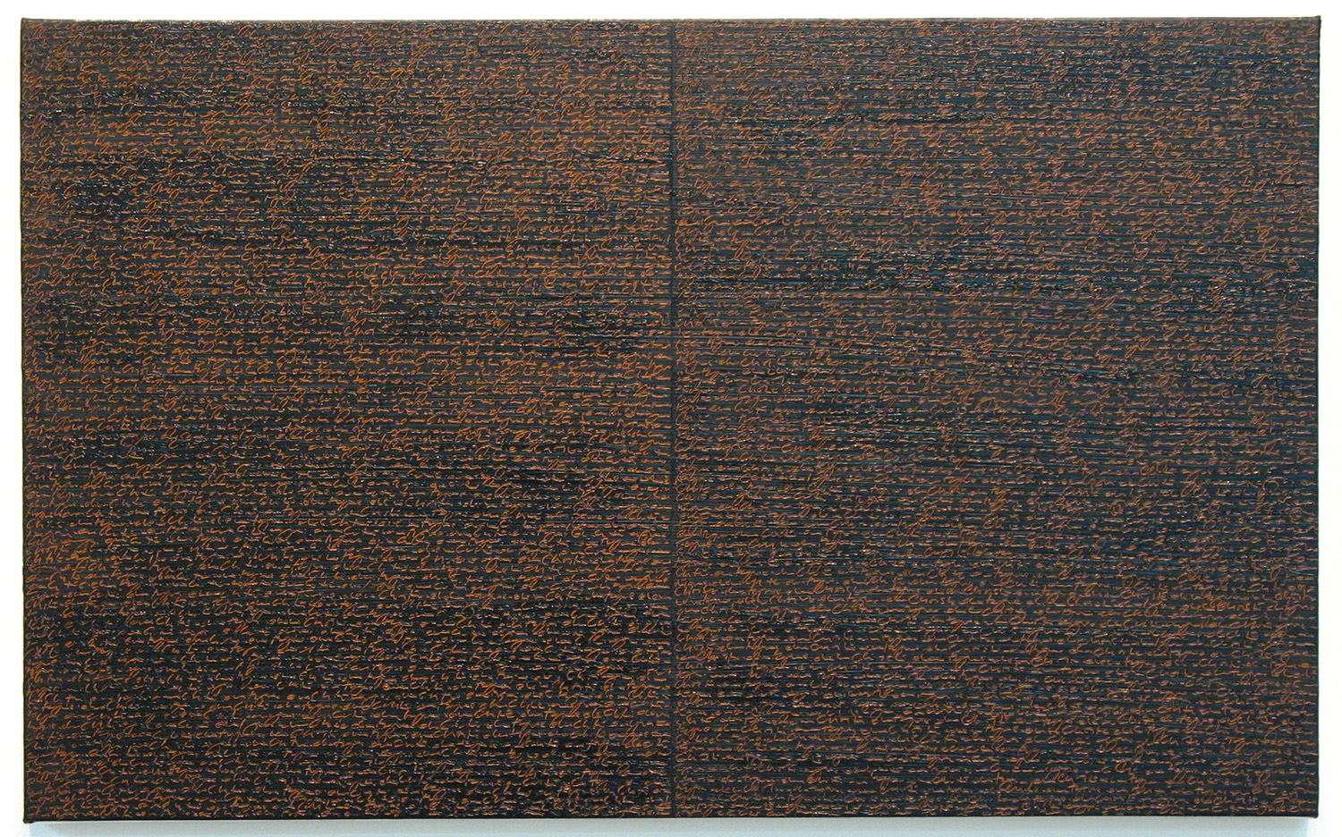 Open Book -orange-brown dark-<br>oil and amber on canvas over panel, 37 x 60 cm, 2008