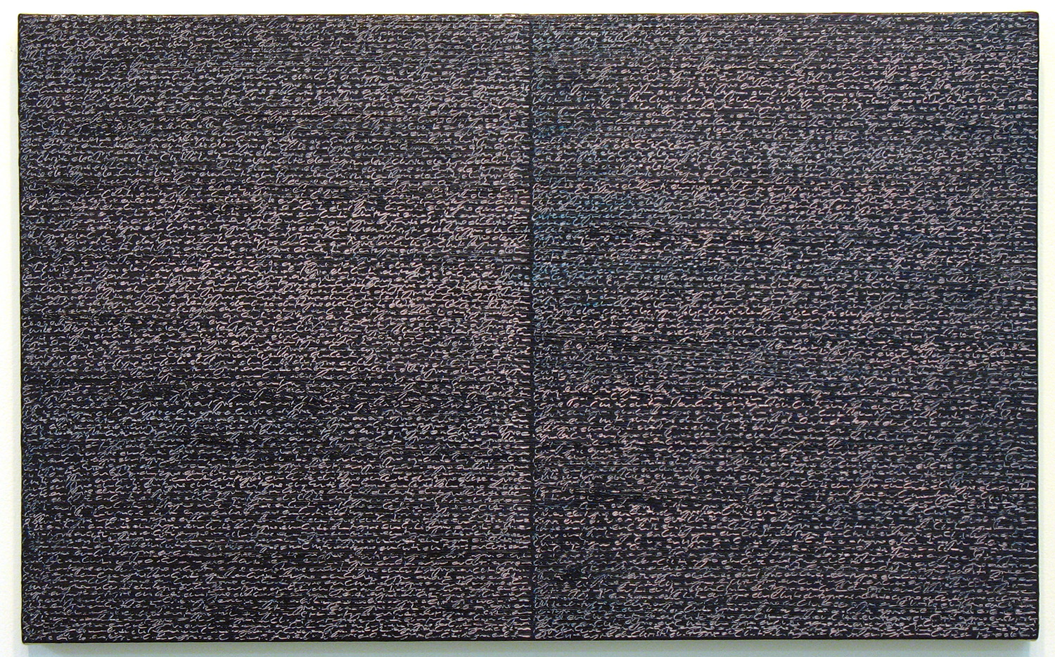 Open Book -pink-indigo-<br>oil and amber on canvas over panel, 37 x 60 cm, 2008