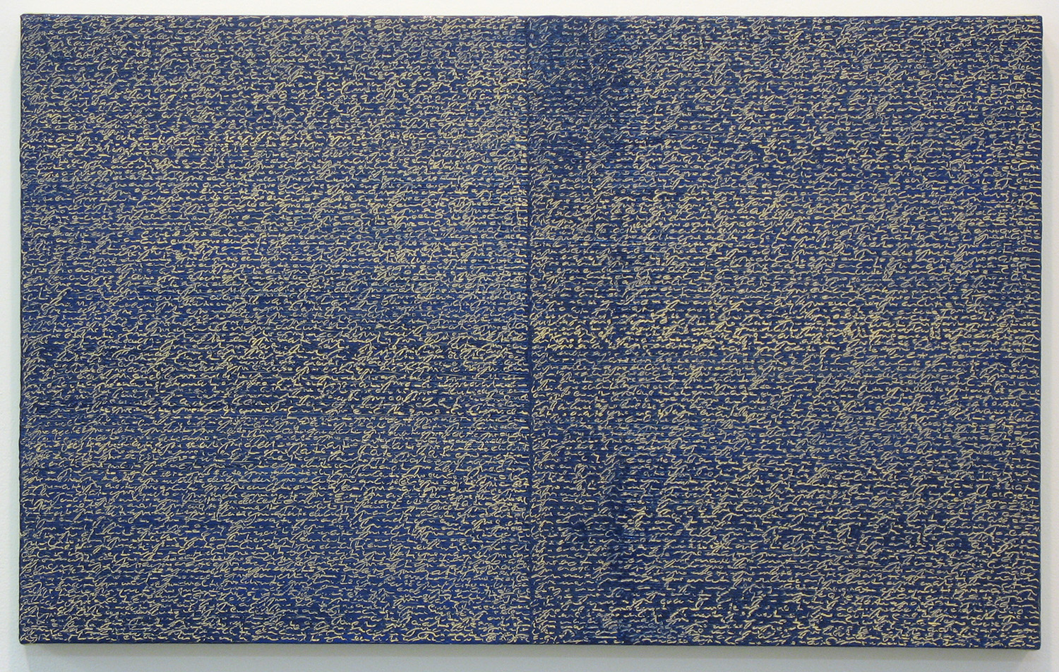 Open Book -yellow-blue-<br>oil and amber on canvas over panel, 37 x 60 cm, 2008