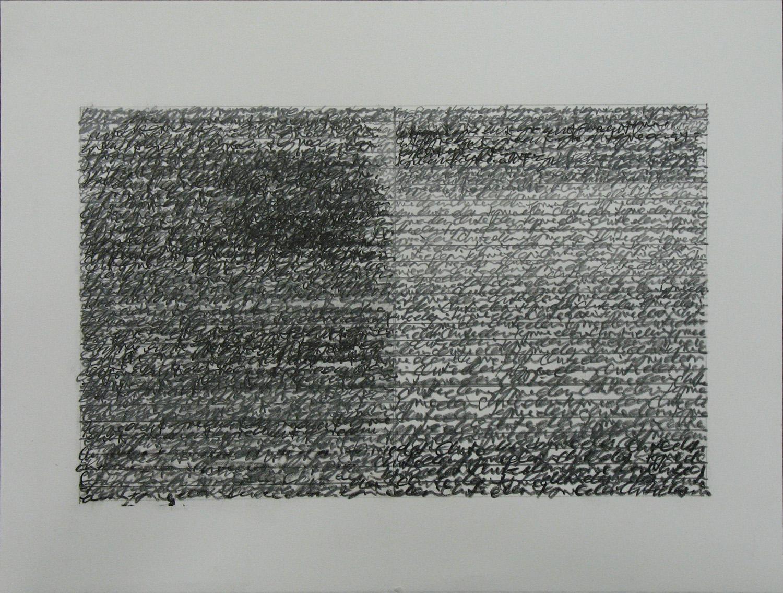 rewrite 9<br>pigment pencil on paper 21 x 27 cm 2007-9