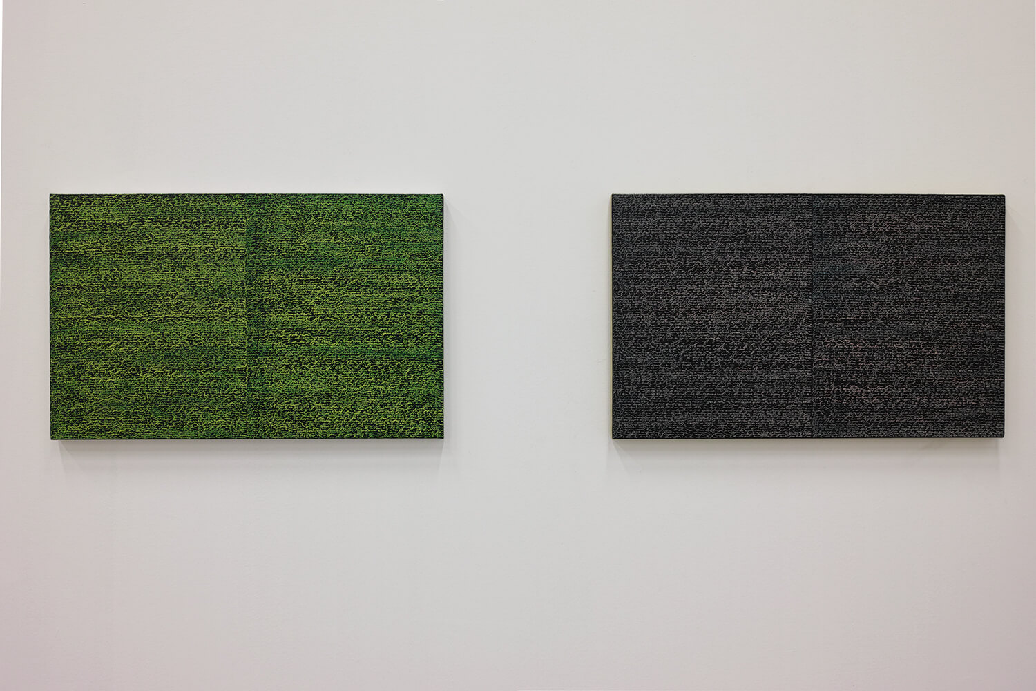 'Open Book yellow-green'  (left) & 'Open Book pink-indigo' (right)<br>Oil and Amber on canvas over panel, 37 x 60 cm, 2008 each
