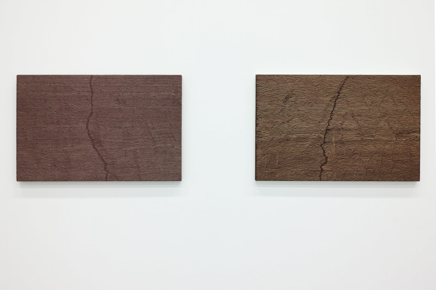 'Fissure 10'  (left) & 'Fissure 9' (right)<br>Oil and Amber on canvas over panel, 33.7 x 53.4 cm, 2001 each