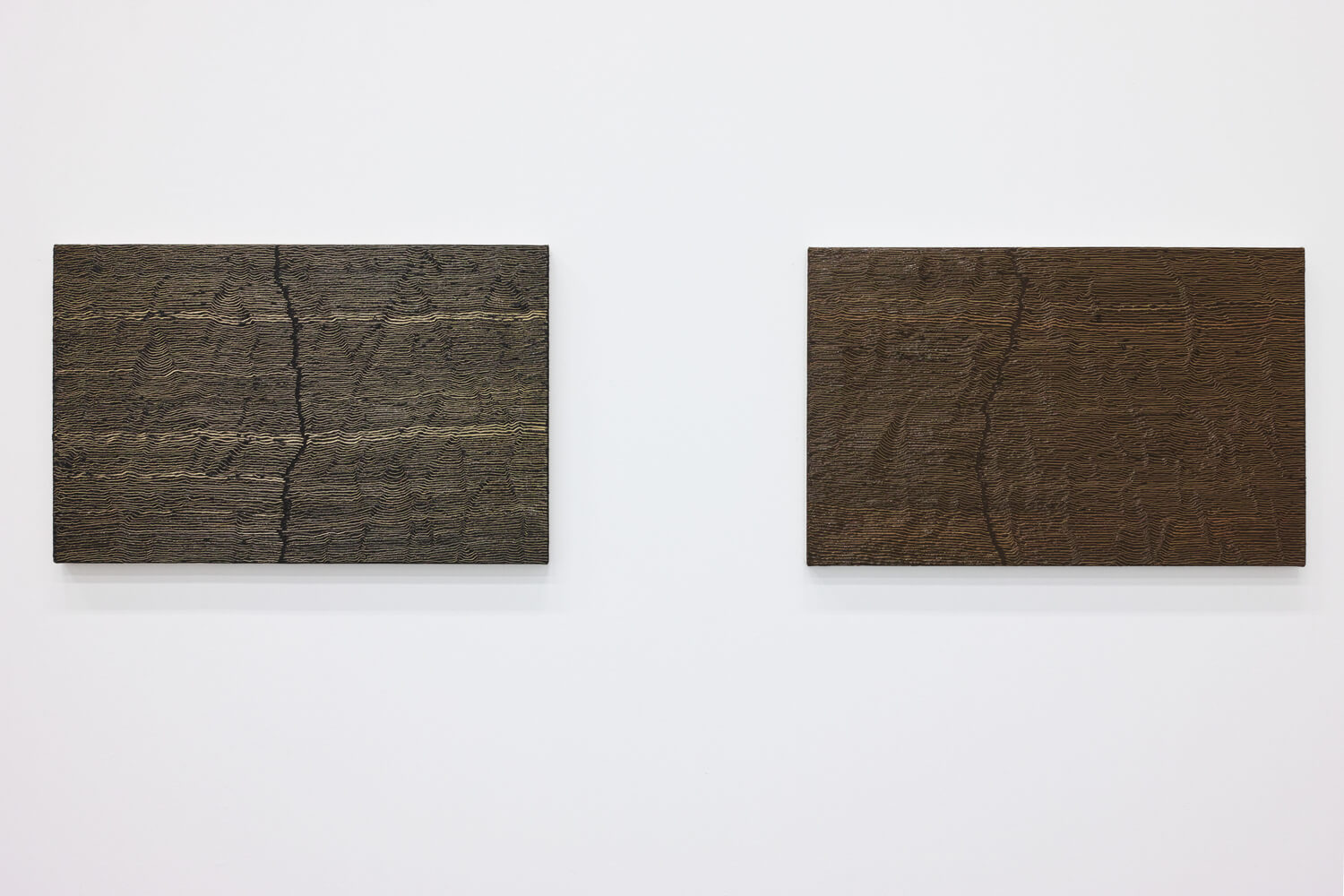 'Fissure 8'  (left) $ 'Fissure 2' (right)<br>Oil and Amber on canvas over panel, 33.7 x 53.4 cm, 2001 each