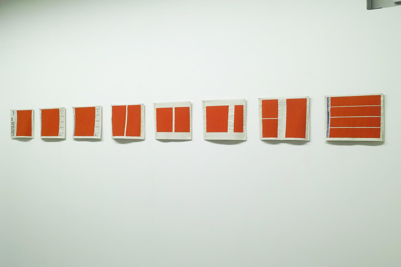 Text No.109 A-H, 110 I,J,K 111 LM<br>acrylic on wove news paper 13 pieces<br>235 x 300 mm each<br>2001