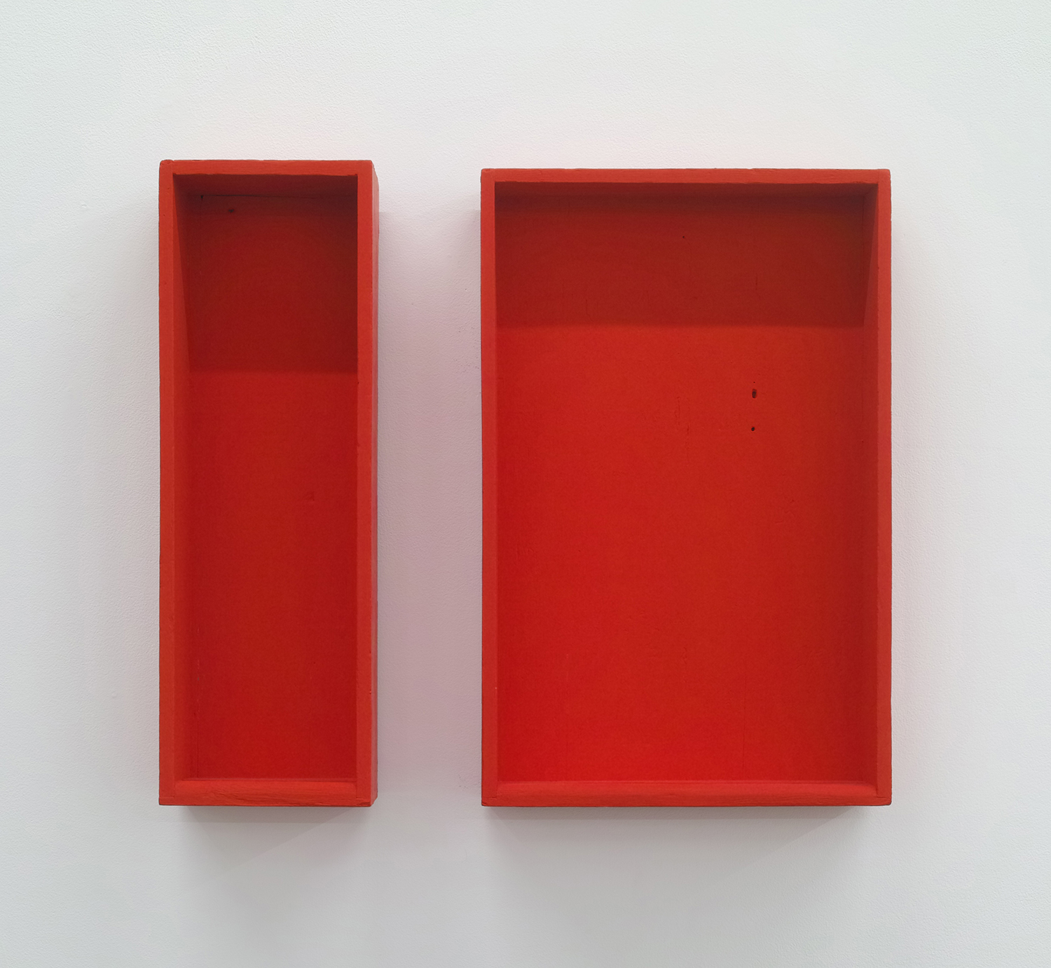 Text No. 14 & 13<br>acrylic on wood, set of 2<br>327 x 208 x 53 mm,  327 x 106 x 70 mm<br>1998