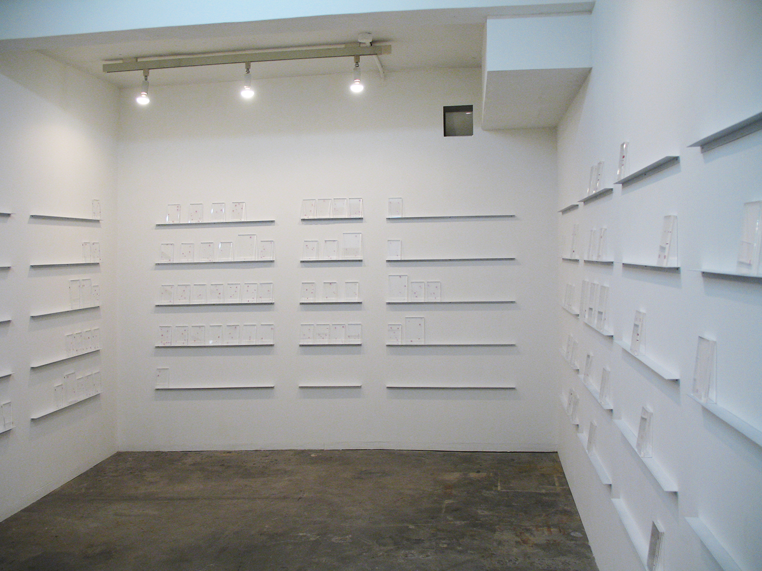 Installation view -  bookshelf, acrylic and transfer seal, 15.3 x 10.5 x 1.6 and 20.8 x 14.8 x 1.6 cm each, 2008