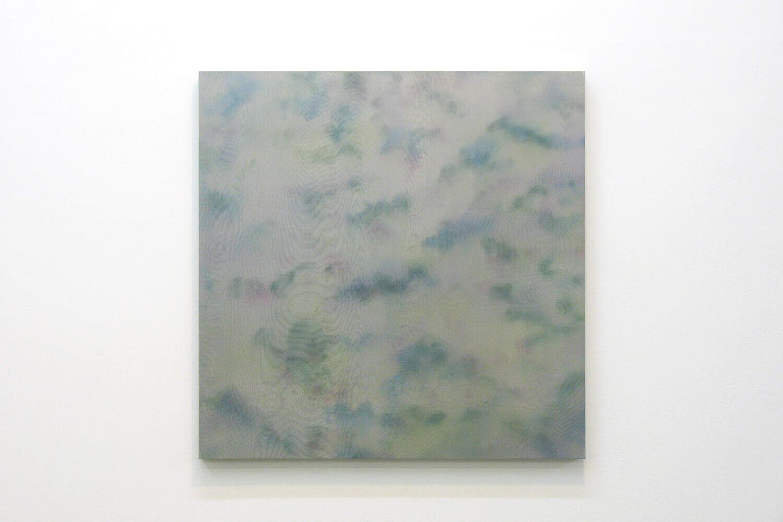 淡雪 light snow<br> Acrylic, glass organdy, stainless steel, panel 60 x 60 cm 2012