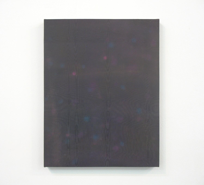 drops #4<br> Acrylic, glass organdy, cotton, panel 41 x 33 cm 2013
