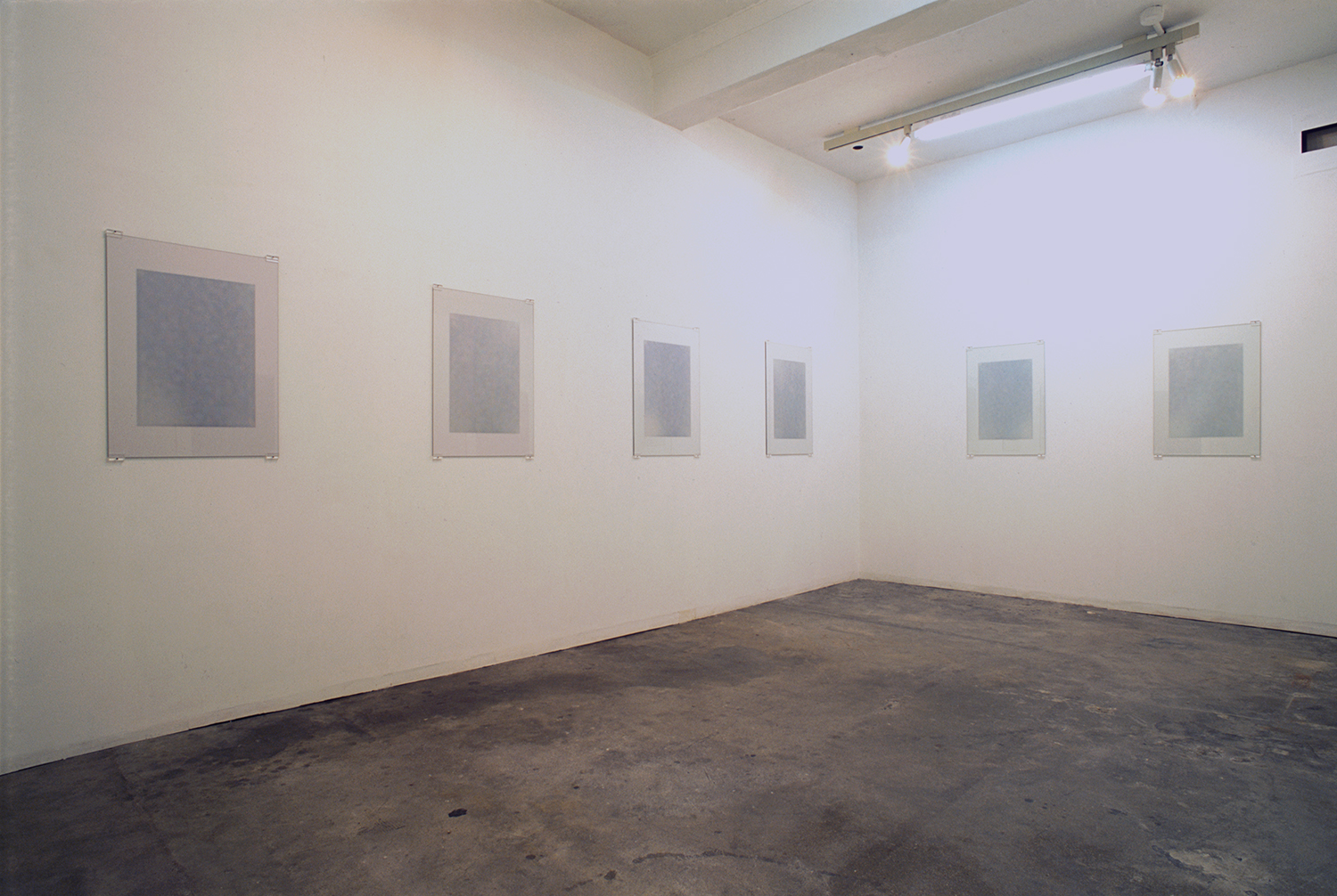 Installation view: Float series|Acrylic on glass|image: 515 x 360 mm, glass: 720 x 515 x 3 mm|2006 each