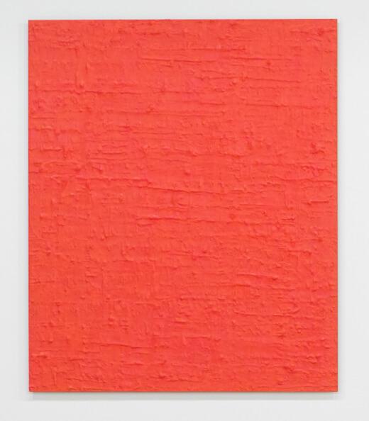 北野吉彦 untitled - 蛍光ピンク アルミ板にアクリルと油彩 72.7 x 60.6 ㎝ 2016