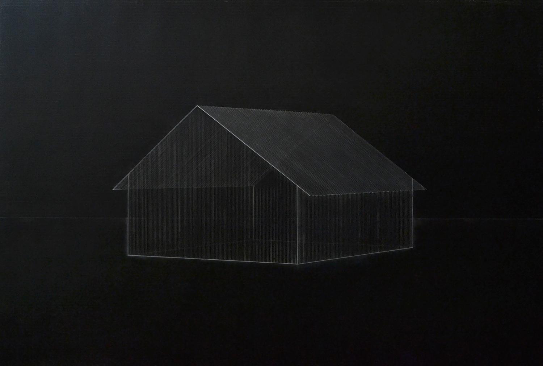熊谷 誠|MAKOTO KUMAGAI<br>memory/scale (house) 06|Oil on paper|62 x 80.5 cm|2020