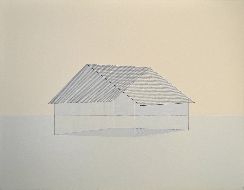 熊谷 誠|MAKOTO KUMAGAI<br>memory/scale (house) 01|Oil on paper|62 x 80.5 cm|2020