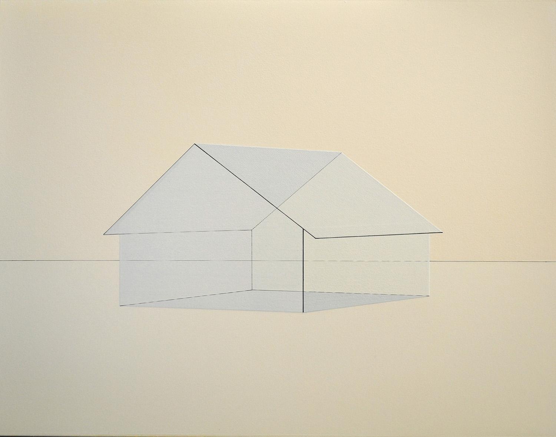 熊谷 誠|MAKOTO KUMAGAI<br>memory/scale (house) 02|Oil on paper|62 x 80.5 cm|2020