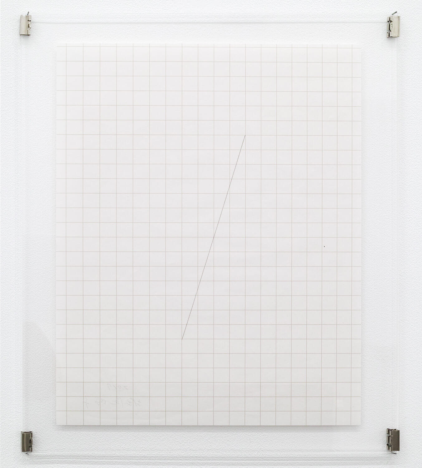 <strong>Untitled </strong><br>Pencil line, thin graph paper, acrylic plate 300 x 240 x 5 mm 2017