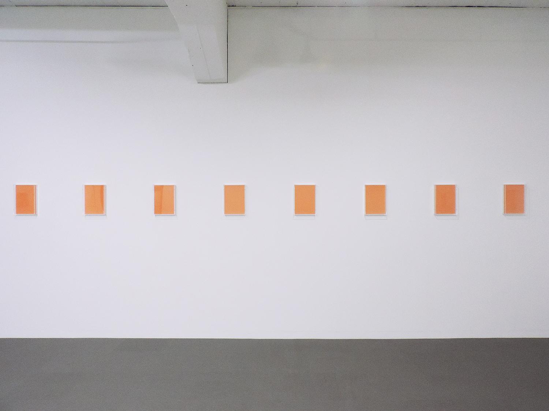 Untitled Orange|Paper, Acrylic box, Wood, UV light|22 x 30.7 x 5.4 cm each(set of 14)|2018