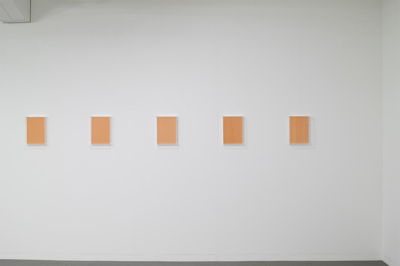 <strong>Untitled Orange</strong><br>紙、アクリルボックス、木材、紫外線 22x30.7x5.4cm each(set of 14) 2018