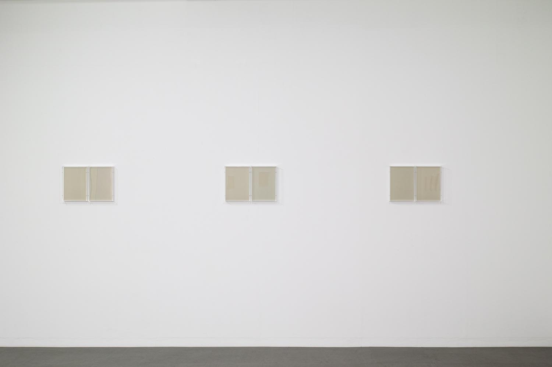 Untitled Gray|Paper, Acrylic box, Wood, UV light|22 x 30.7 x 5.4 cm each(set of 3)|2018