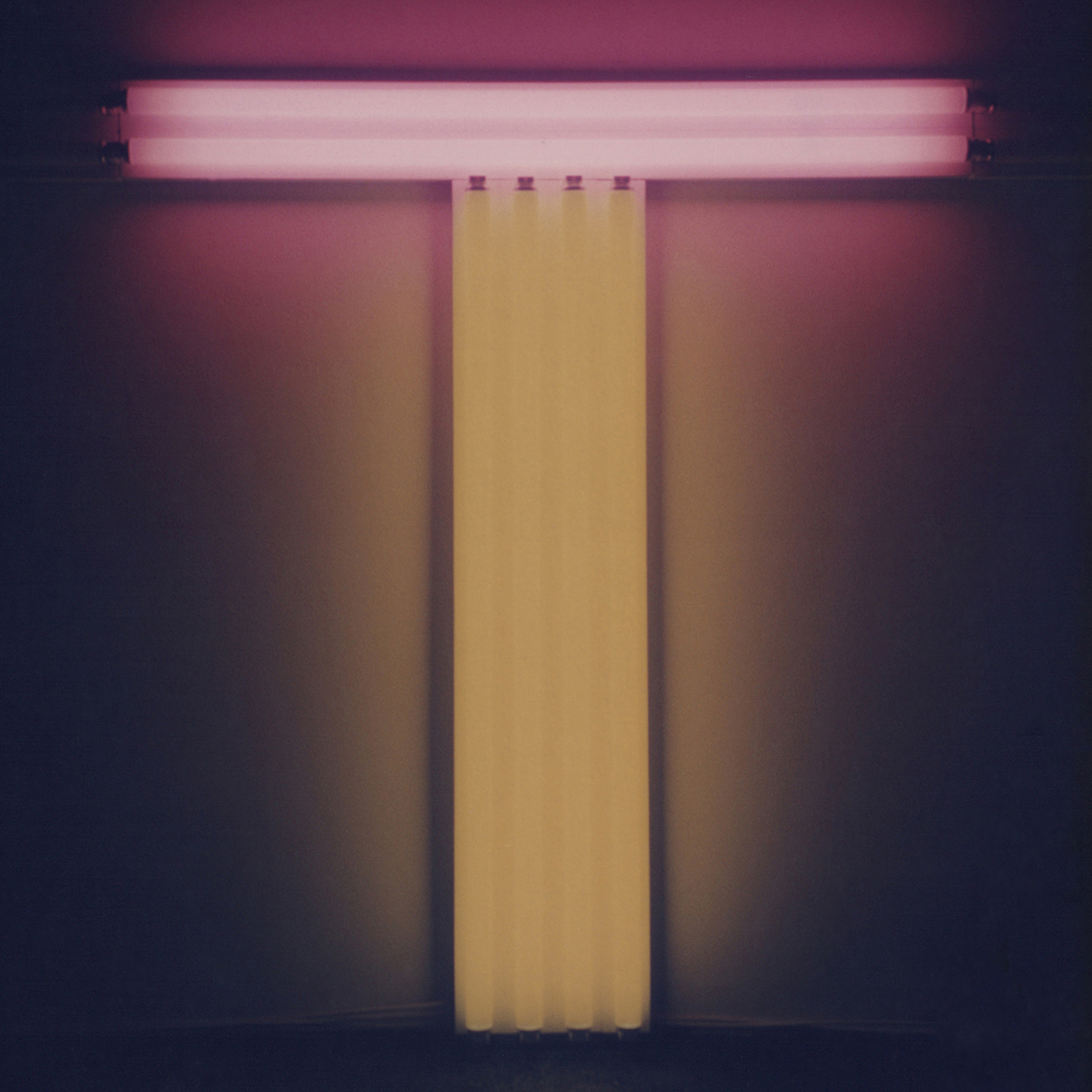 Untitled (To Don Judd, colorist)|yellow and pink fluorescent lights|137 x 122 x 10 cm|1987