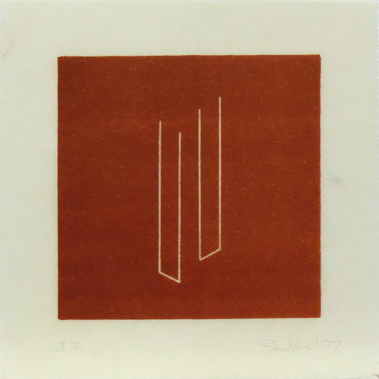 Untitled [from an untitled portfolio]|lithograph on handmade paper with cut edge|19 x 18.9 cm|1977