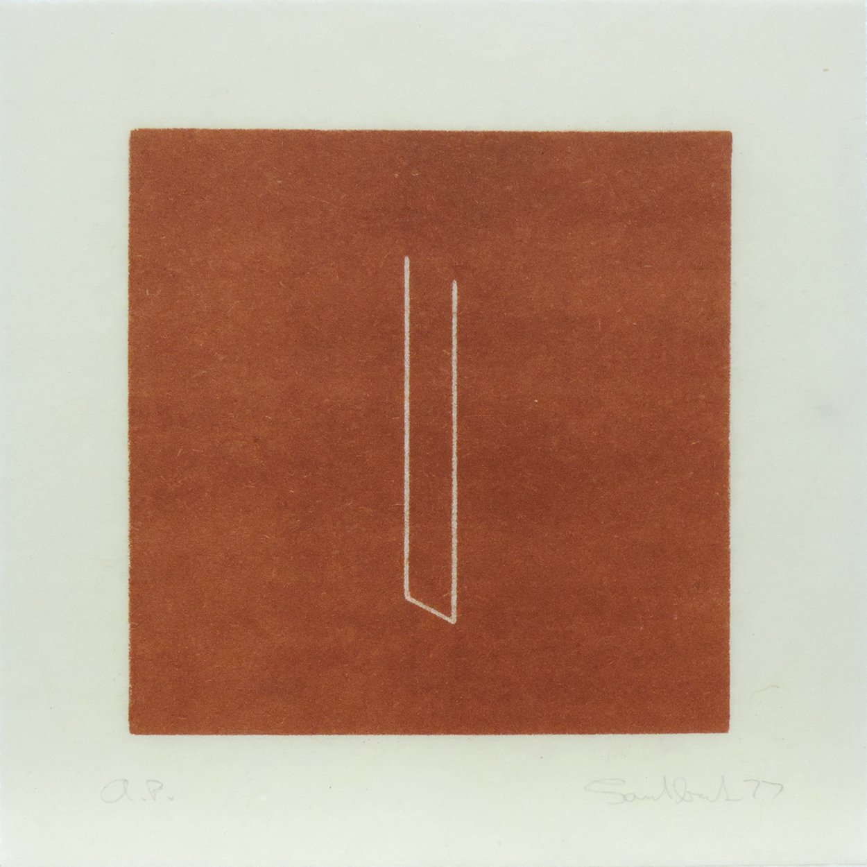 Untitled [from an untitled portfolio]|lithograph on handmade paper with cut edge|19 x 19.1 cm|1977