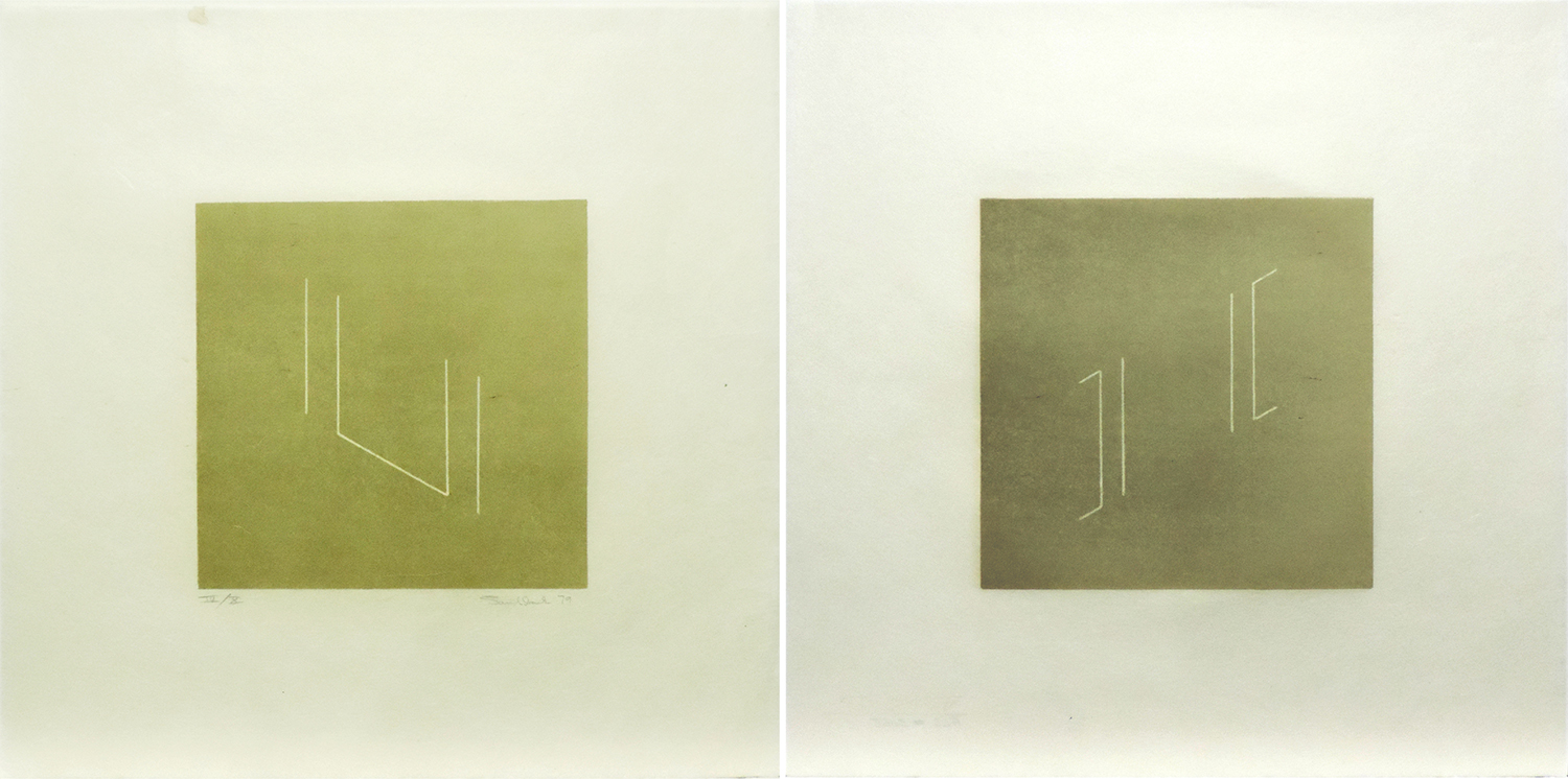 Untitled (set of 2)|lithograph on Japanese paper with cut edge|35.9 x 35.9 cm each|1979