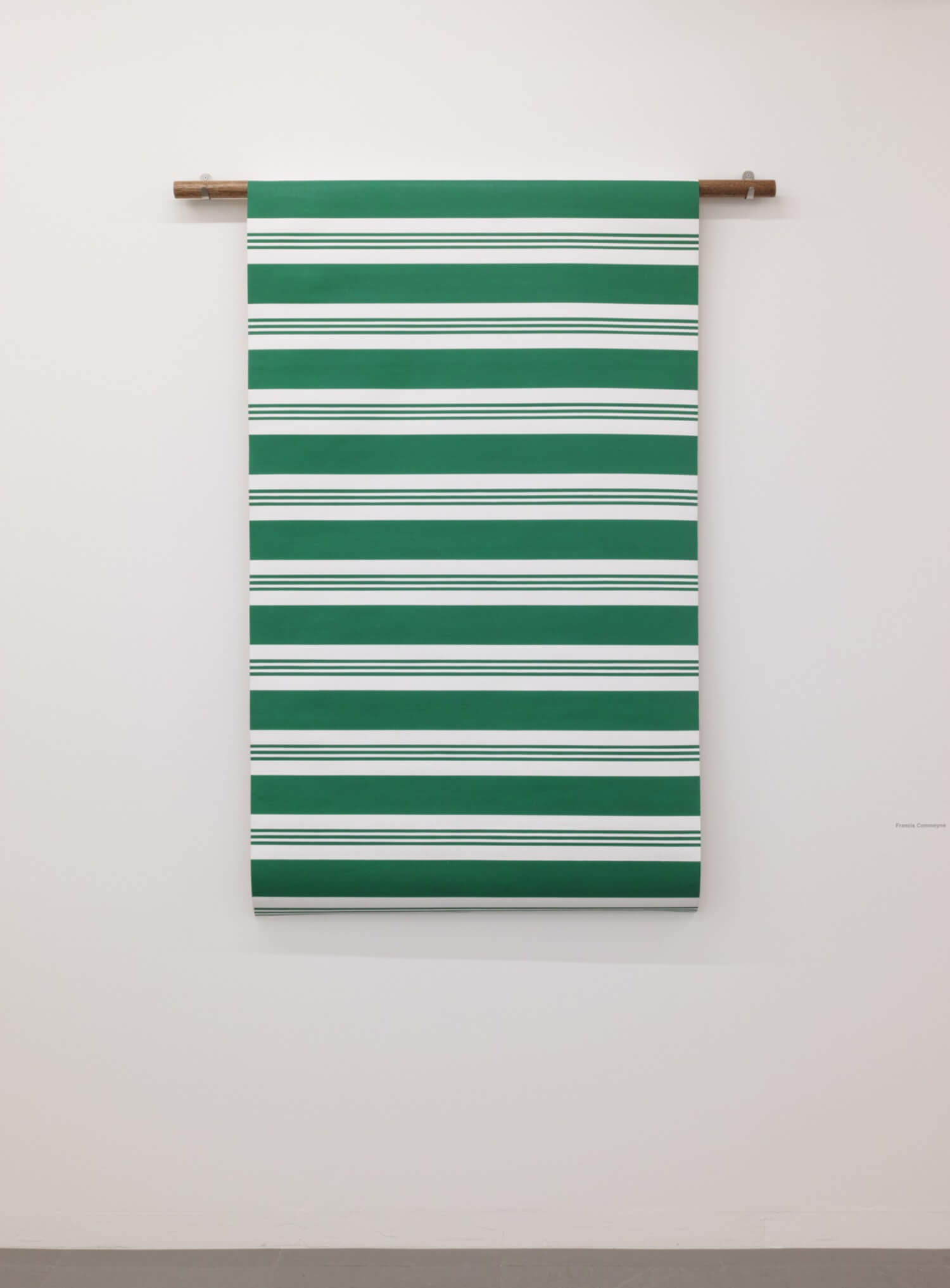 Francis Commeyne<br>STUPED TARP SENES(GREEN) / Acrylic on canvas and wooden dowel, 158 x 122 cm, 2016