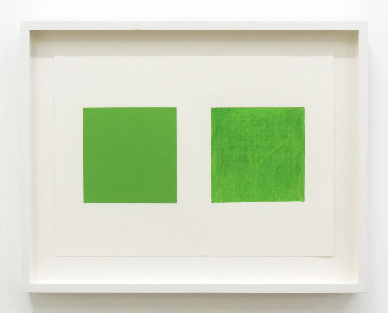 高野麻紀<br>Zwei Farbchen( 二つの四角い色 ) / color paper and color pencil on paper, 17 x 23.8 cm, 2009-15