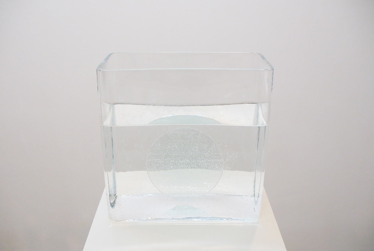 境界 3|border 3<br>water, glass, lens<br>245 x 245 x 120 mm pedestal: 300 x 300 x 1150 mm 2010