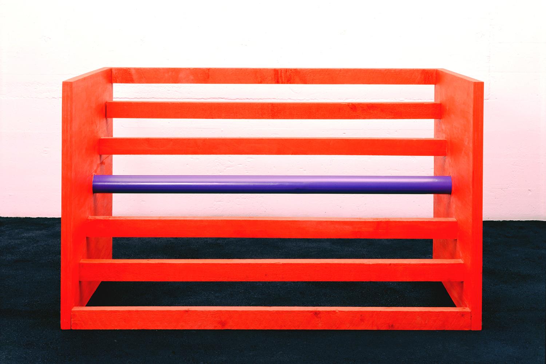 Untitled 1963-88|cadmium red light oil on wood and purple enamel on aluminum|122 x 210 x 122 cm