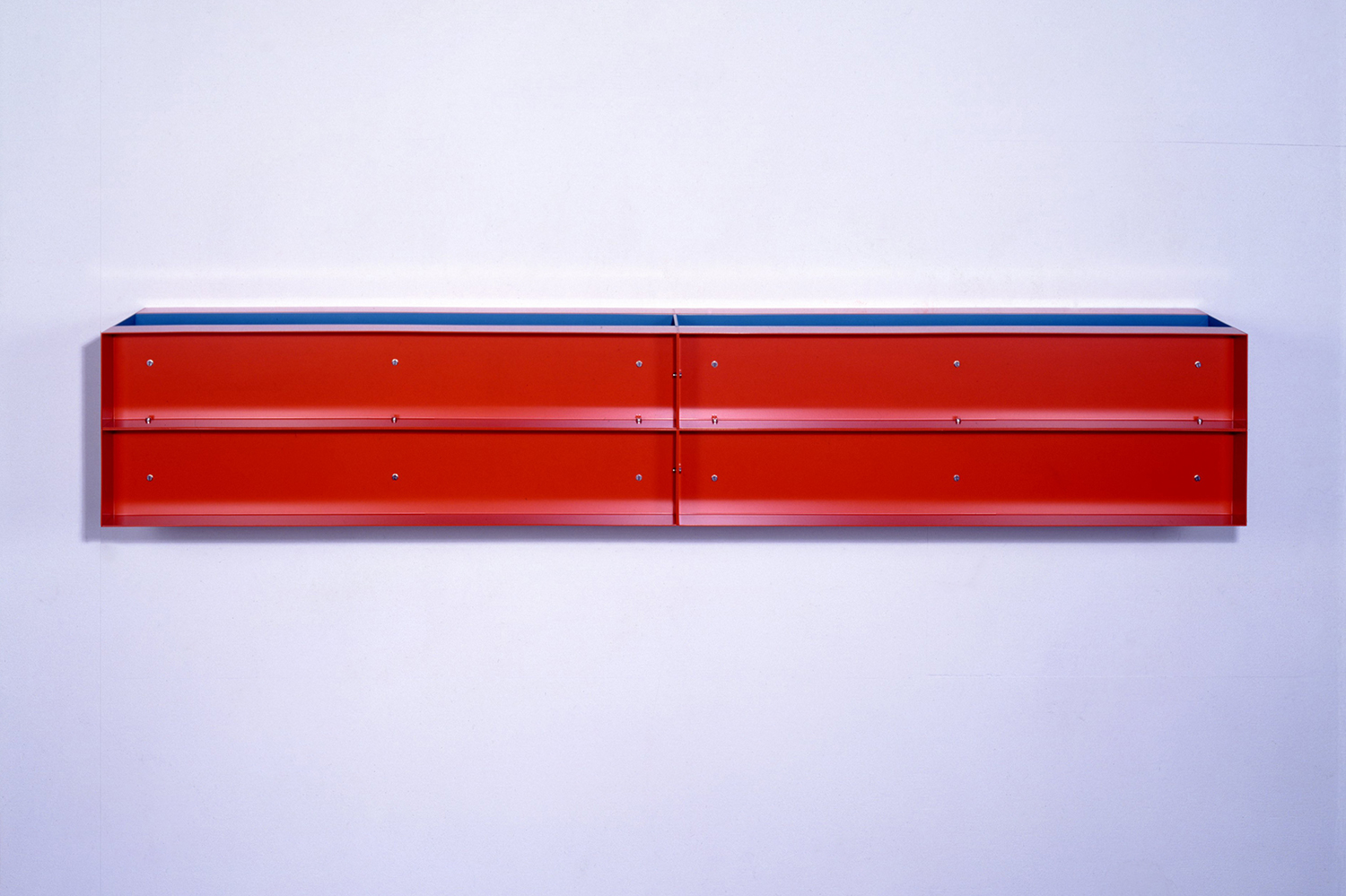 Untitled Red and Blue 1989|painted aluminum wall sculpture|30 x 180 x 30 cm