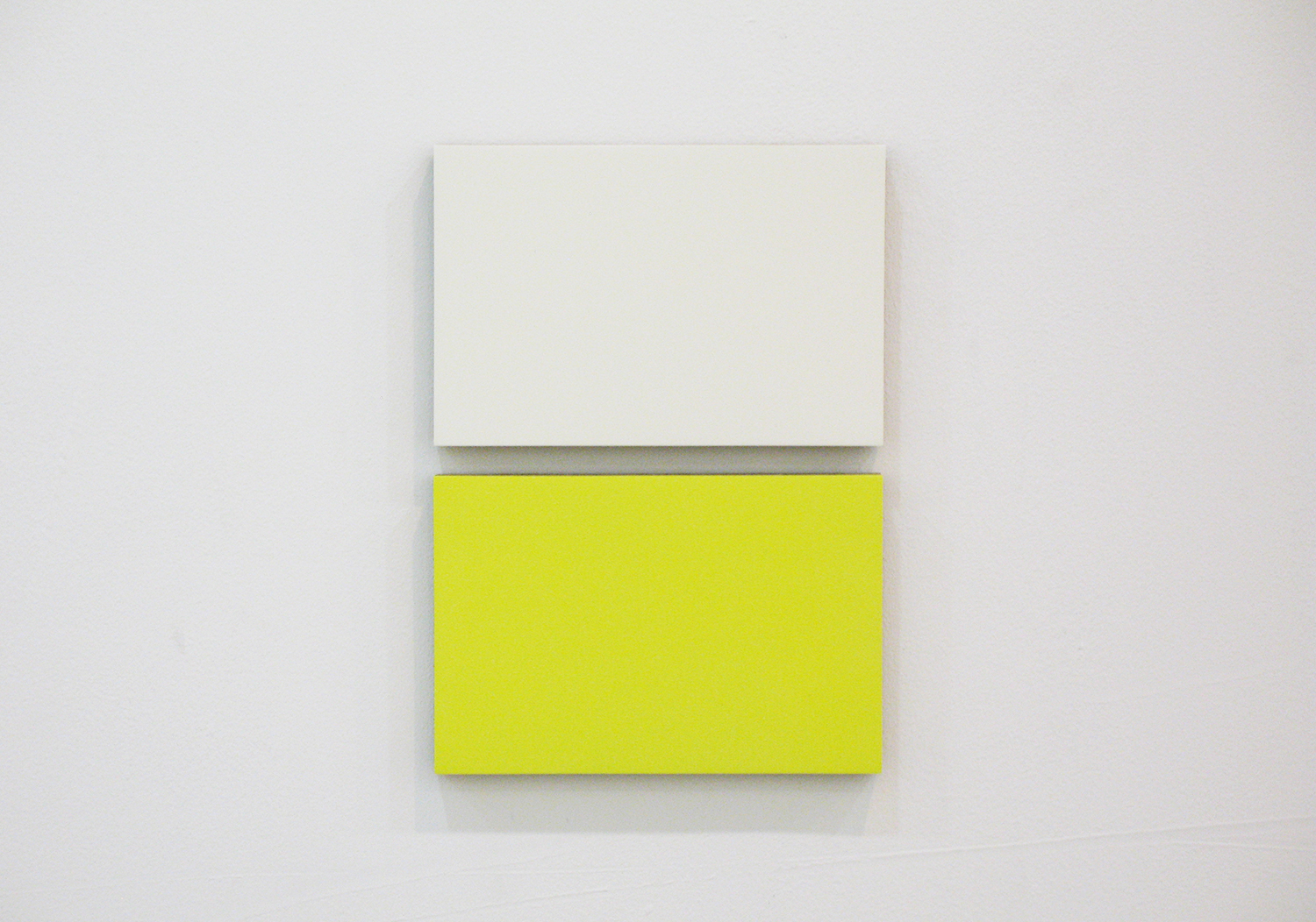 2col-09(white & yellow)casein, pigment on canvas & aluminum (2 parts, 10 x 15 cm each)