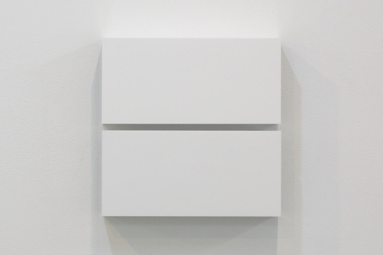 Two Colors 1|Aluminum, casein, pigment|25 x 25 x 6 cm|2011