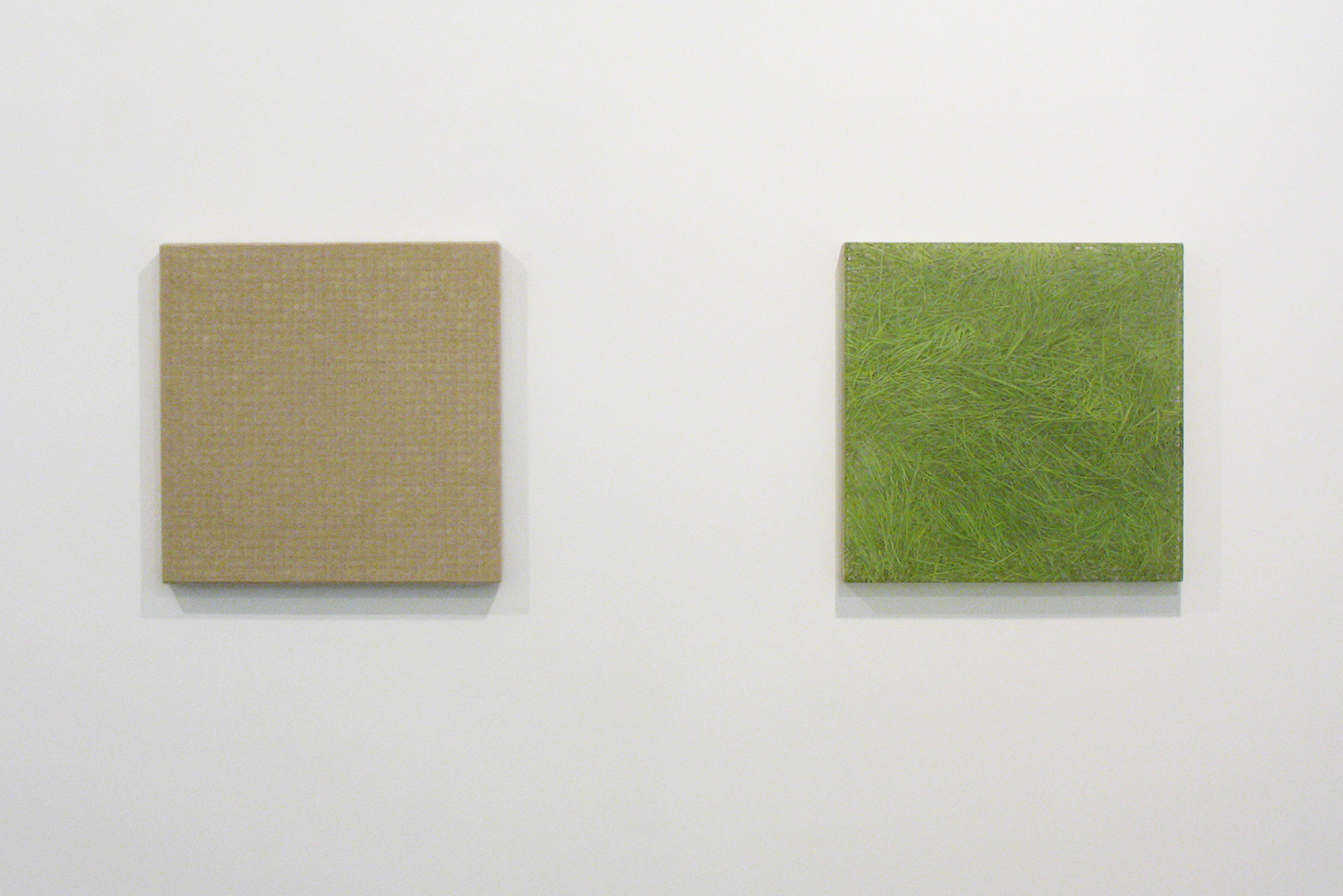 Hemp-square series|acrylic on canvas|42.5 x 42.5 cm|2008 (left)<br>Photo painting-bush 叢|oil on polyester resin panel and mixed media|42.5 x 42.5 cm|2008 (right)