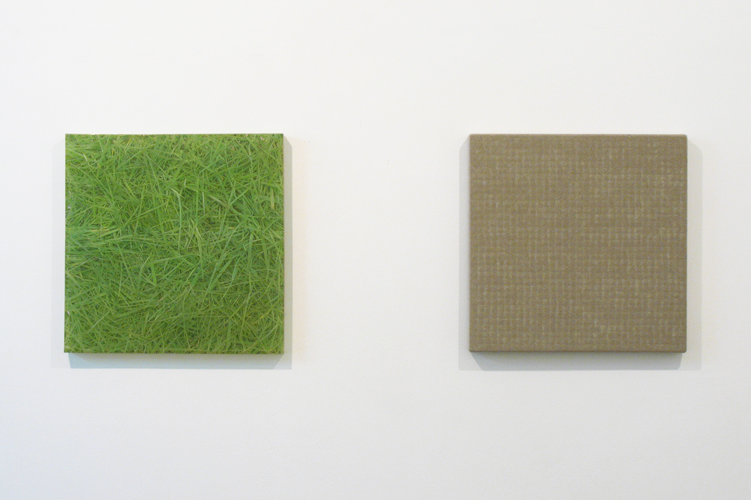 Photo painting-bush 叢|oil on polyester resin panel and mixed media|42.5 x 42.5 cm|2008 (left)<br>Hemp-square series|acrylic on canvas|42.5 x 42.5 cm|2008  (right)