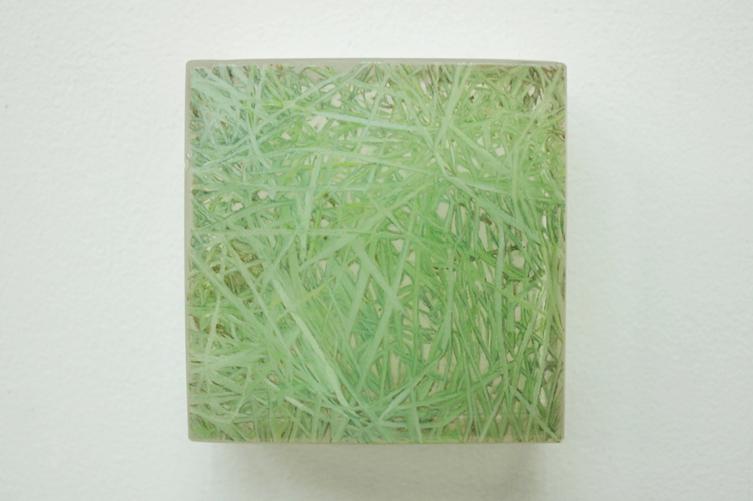 Photo-painting 草上のかおり−5|Scent on the grass-5 |7.5 x 7.5 x 3 cm|Oil on FRP, mixed media| 2009