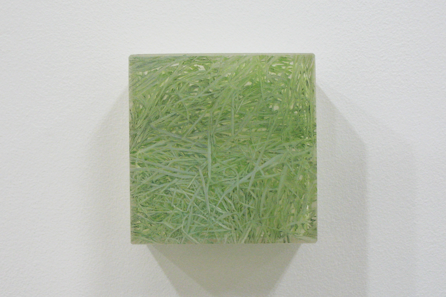 Photo-painting 草上のかおり-11|Scent on the grass-11 |7.5 x 7.5 x 3 cm|Oil on FRP, mixed media| 2009