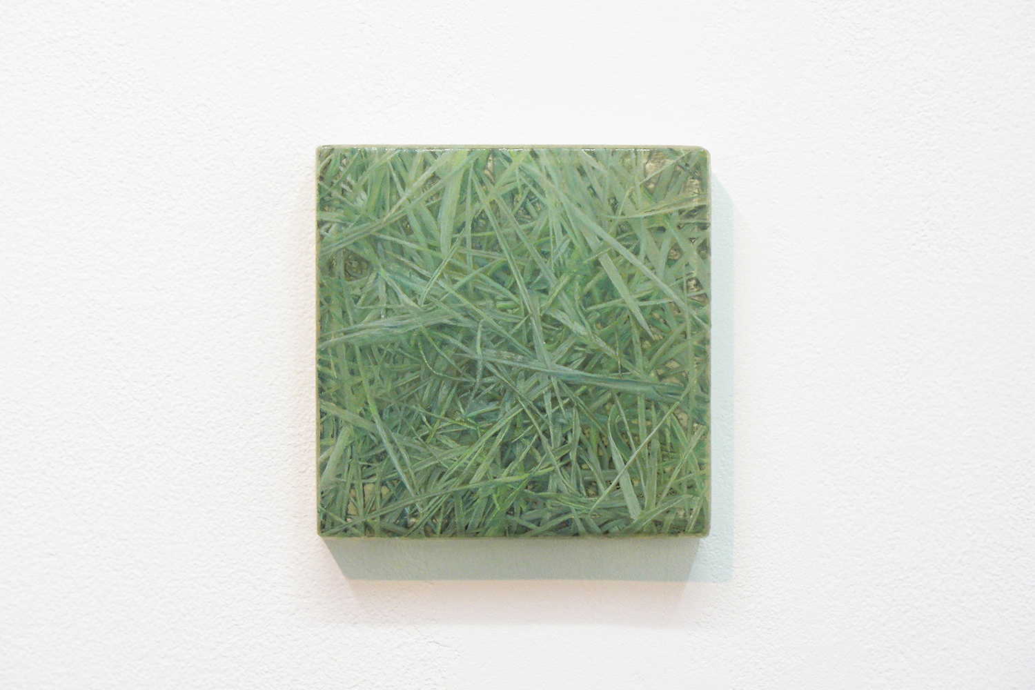 Photo painting 「草上の手触り」|11・1, 11 x 11cm|Oil on FRP panel|2011